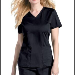 Landau Women's Black Pre-Washed V-Neck Scrub Top